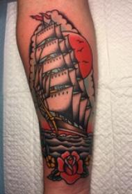 纹身小帆船 女生手臂上帆船纹身图片