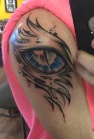 眼睛纹身 男生手臂上恶魔眼睛纹身图片
