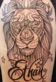 百乐动物纹身 男生大臂上英文和狮子纹身图片