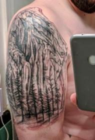 双大臂纹身 男生大臂上大树和山脉纹身图片