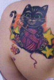 炫彩小猫肩部纹身