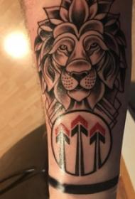 狮子头纹身欧美 男生手臂上狮子头纹身图片