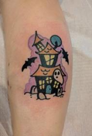 小腿对称纹身 女生小腿上彩色的建筑物纹身图片