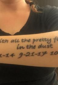 纹身 英文 女生手臂上数字纹身图案