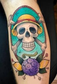 手臂纹身图片 男生手臂上植物和骷髅纹身图片
