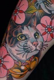 欧美小腿纹身 女生小腿上花朵和猫咪纹身图片
