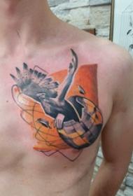 纹身几何 男生胸部几何纹身图片