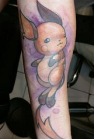 彩绘纹身 男生手臂上彩色的卡通动物纹身图片