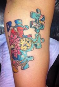 欧美拼图纹身 多款小清新文艺纹身彩色欧美拼图纹身图案