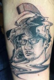 抽象线条纹身 男手臂上黑色的人物肖像纹身图片