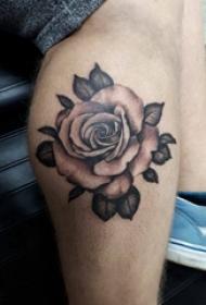 歐美小腿紋身 男生小腿上黑色的玫瑰紋身圖片