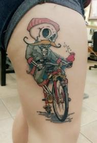 纹身卡通 女生大腿上卡通纹身图片