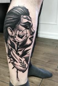 人物纹身图片 男生小腿上人物肖像纹身图片
