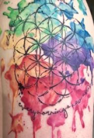 大臂纹身图 男生大臂上彩色的圆形纹身图片