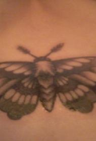 女生胸下纹身 女生胸下黑色的蝴蝶纹身图片