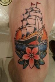 纹身小帆船 男生大腿上帆船纹身图片