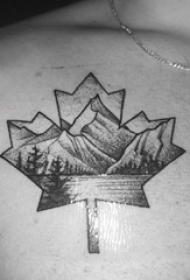 纹身胸部男 男生胸部风景和枫叶纹身图片