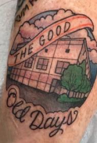 纹身大腿男 男生大腿上英文和建筑物纹身图片