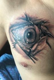 纹身胸部男 男生胸部黑色的眼睛纹身图片