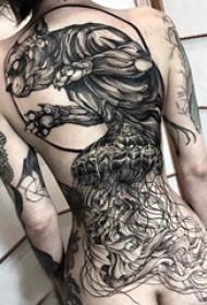 百乐动物纹身 女生背部百乐动物纹身图片
