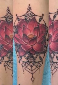 手臂纹身素材 女生手臂上莲花纹身图片