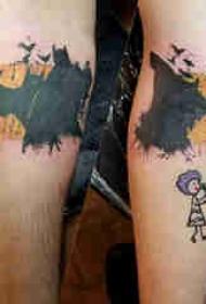 蝙蝠侠标志纹身 情侣小腿上彩色的蝙蝠侠标志纹身图片