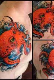章鱼纹身图案 男生肩部章鱼纹身图案