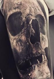 纹身骷髅头 多款黑灰纹身点刺技巧骷髅头纹身图案