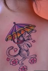 可爱猫咪颈部纹身