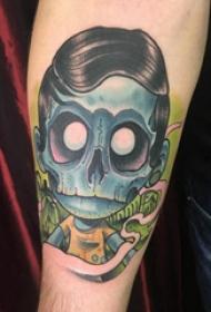 手臂纹身素材 男生手臂上彩色的卡通僵尸纹身图片