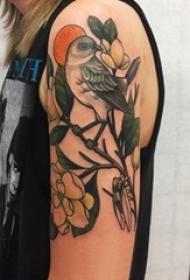 纹身鸟 女生手臂上小鸟纹身图案