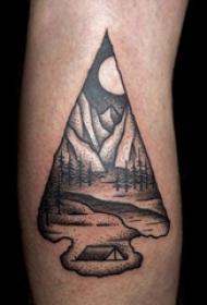 风景纹身图案 女生小腿上风景纹身图案