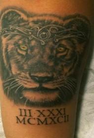 手臂纹身素材 男生手臂上英文和老虎纹身图片