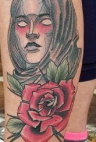 女生人物纹身图案 女生小腿上人物纹身图片