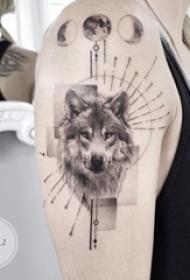 双大臂纹身 女生大臂上几何和狼头纹身图片