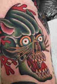 豹子头纹身 凶猛十足的小动物豹子头纹身图案