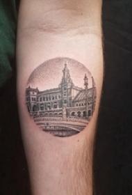 建筑物纹身 男生手臂上黑色的建筑纹身图片