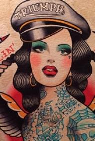 女性人物纹身图案 多款彩绘纹身素描女生人物纹身图案