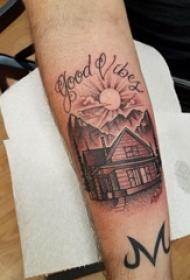 建筑物纹身 男生手臂上英文和建筑物纹身图片