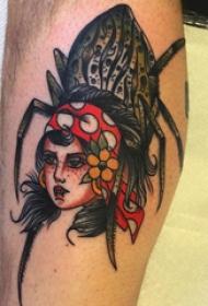 欧美小腿纹身 男生小腿上人物和蜘蛛纹身图片