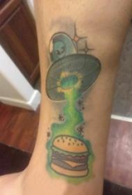 外星人纹身 男生小腿上食物和外星人纹身图片