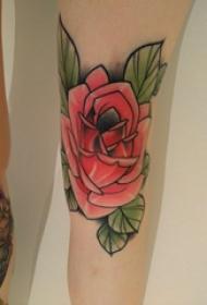 腿部纹身 女生腿部彩色的玫瑰纹身图片