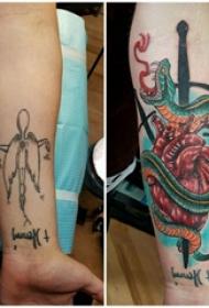 欧美匕首纹身 女生手臂上欧美匕首纹身图片
