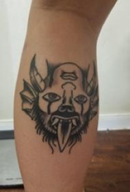 欧美拼接纹身 男生小腿上黑色的拼接人物纹身图片