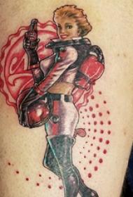 女生人物纹身图案 女生大腿上女生人物纹身图案