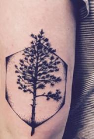 双大臂纹身 男生大臂上六边形和大树纹身图片