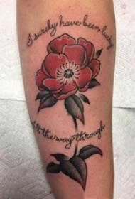 植物纹身 男生手臂上英文和花朵纹身图片