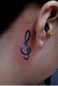 小巧音符颈部纹身