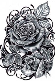 纹身玫瑰手稿 多款简单线条纹身素描小清新文艺纹身玫瑰手稿