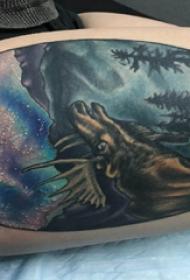 大腿传统纹身 女生大腿上风景和麋鹿纹身图片